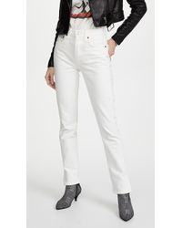 RE/DONE - High Rise Straight Jeans With Slits - Lyst