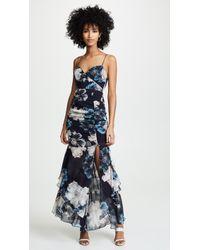 Nicholas - Navy Floral Drawstring Layered Dress - Lyst