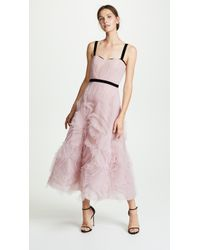 Marchesa notte - Sleeveless Textured Tulle Tea Length Gown With Draped Corset Bodice And Velvet Trims (lilac) Women's Dress - Lyst