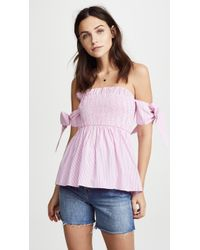 English Factory - Off Shoulder Top With Smocking - Lyst