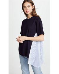 CLU - T-shirt With Stripe Pleats - Lyst