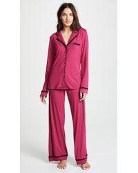 Cosabella - Bella Amore Long Sleeve Top Trousers Pj Set (navy Blue/moon Ivory) Women's Pyjama Sets - Lyst