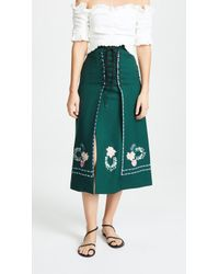 Vilshenko - Ginny Embroidered Lace Up Skirt - Lyst