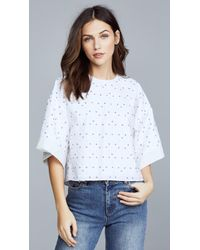 Adam Lippes - Poplin Cropped Shirt With Embroidery - Lyst