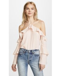 Cooper & Ella - Ruffle Cold Shoulder Blouse - Lyst