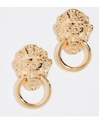 Kenneth Jay Lane - Polished Lion Head Doorknocker Earrings - Lyst