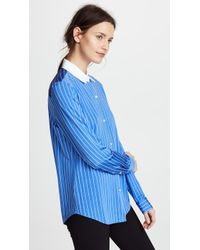 Theory - Essential Jersey Button Down Blouse - Lyst