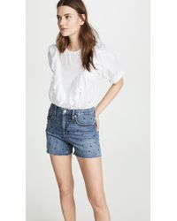 854e59e1a3 Madewell The Perfect Jean Shorts: Step Hem Edition in Blue - Lyst