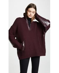Courreges - Zipped Neck Sweater With Vinyl Detail - Lyst