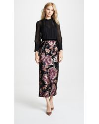 Marchesa notte - Sleeve Blouse & Sequined Peony Skirt - Lyst