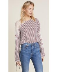 Robert Rodriguez - Lace Inserted Stripe Blouse - Lyst