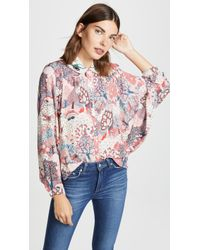 Vilshenko - Anya Batwing Blouse With Embroidered Collar - Lyst