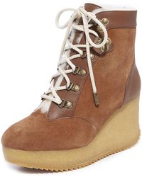 Joie - Alary Genuine Shearling Lined Platform Wedge Bootie - Lyst