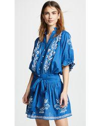 Juliet Dunn - Cotton Blouson Dress With Sash Ties - Lyst