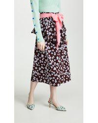 3cc8d7c33 Ganni Lindale Crepe Floral-print Skirt in Black - Lyst