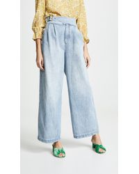 Free People - Side Buckle Wide Leg Jeans - Lyst