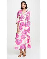Diane von Furstenberg Floral Print Cotton Blend Voile Wrap Dress - Pink