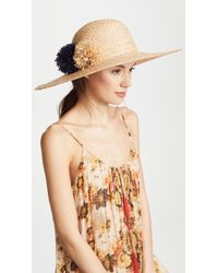 Hat Attack - Natural Braided Pom Pom Sunhat - Lyst