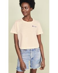 21a76520 Champion - Cropped Crew Neck T-shirt - Lyst