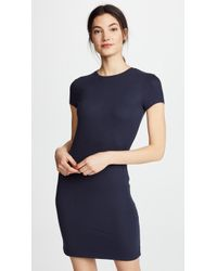 ATM - Rib Mini Cap Sleeve Crew Neck Dress - Lyst