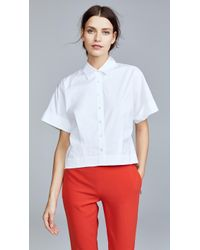 Theory - Cropped Button Down Shirt - Lyst