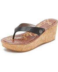 44dfbc6784813 Sam Edelman Neesa Suede Ankle-strap Wedge Sandals in Black - Lyst