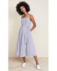 English Factory - Shirred Midi Dress With Ribbon - Lyst