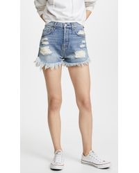 7 For All Mankind - High Waisted Cutoff Shorts With Scallop Hem - Lyst