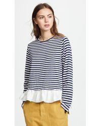 CLU - Asymmetric Stripe T-shirt With Ruffles - Lyst