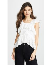 Goen.J - Sleeveless Top With Lace Ruffle Trim & Layers - Lyst