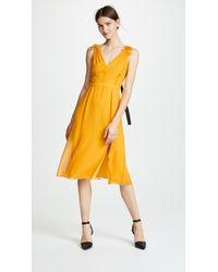 Prabal Gurung - Deep V Silk Dress With Button Detail - Lyst