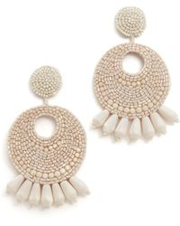 Kenneth Jay Lane - Ivory Seed Bead Hoop Earrings - Lyst