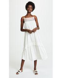 Velvet - Embrodiered Midi Dress - Lyst