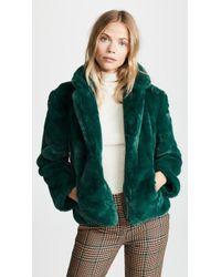 Keepsake - Stay With Me Emerald Faux-fur Coat - Lyst