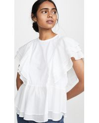 CLU Multi Ruffle Top - White