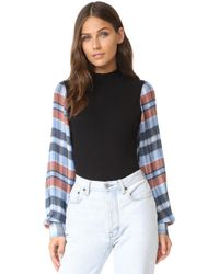 Opening Ceremony Plaid Long Sleeve Body Suit