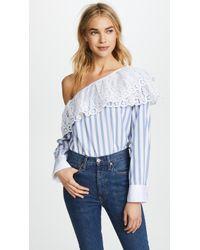 CLU - One Shoulder Striped Shirt - Lyst