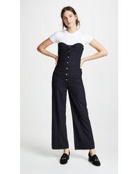 Miaou - Piper Pinstripe Bustier Jumpsuit - Lyst