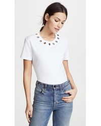 Ferragamo - Tee With Grommet Detail - Lyst