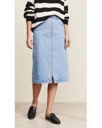 Madewell - Zip Front Midi Skirt - Lyst