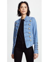 Free People - Fitted Military Denim Jacket - Lyst