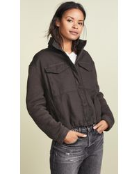 James Perse - Crop Army Mixed Media Jacket - Lyst