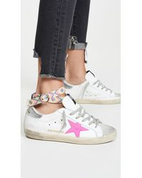 Golden Goose Deluxe Brand Superstar Sneakers With Anklet - White