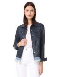 June - Leather Jacket With Denim Fringe - Lyst