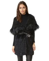 Meteo by Yves Salomon - Draped Effect Fringed Coat - Lyst