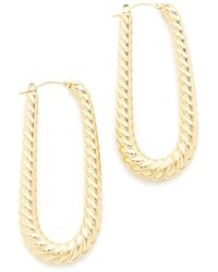 Soave Oro - Elongated Ribbed Hoop Earrings - Lyst