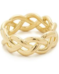 Soave Oro - Shiny Braided Ring - Lyst