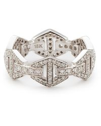 WALTERS FAITH - Keynes All Diamond Hexagon Stackable Ring - Lyst
