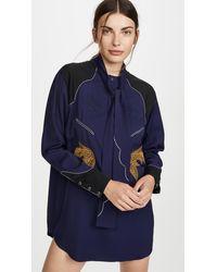 Toga Rayon Embroidery Dress - Blue