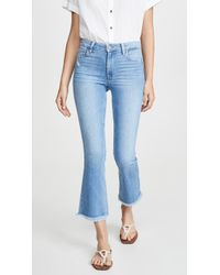 PAIGE Colette Crop Flare Jeans With Fray Hem - Blue
